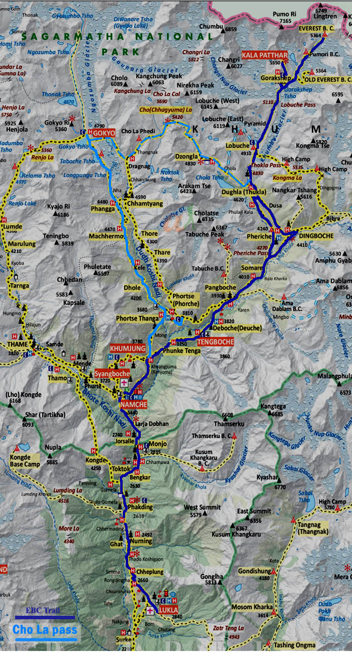 Cho La pass Trek map