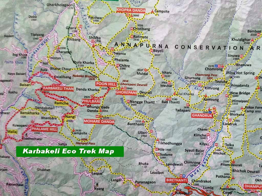 Karbakeli Eco Trek Map