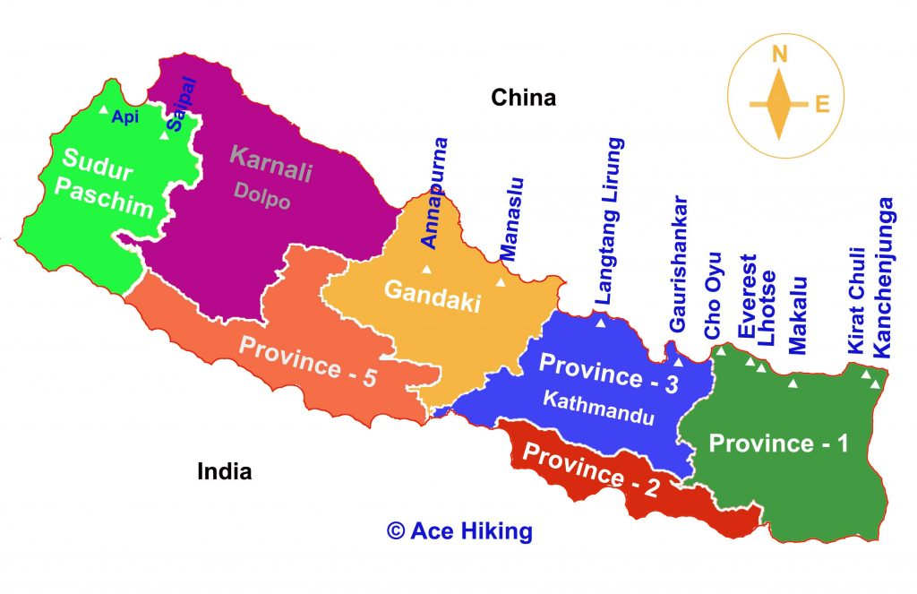 Nepal map with provinces